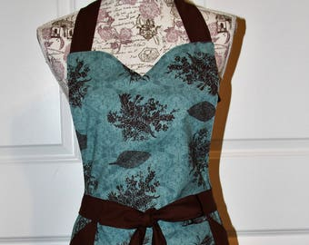 Blue Green and Brown Fall Ladies womens apron