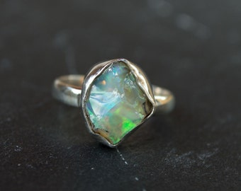 Handmade ring | rough opal | raw opal | opal ring | rainbow opal | October birthstone | rough gemstone | anniversary ring | bohemian |