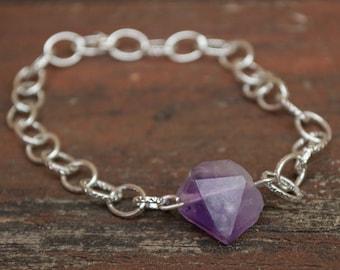 Amethyst bracelet | handmade jewelry | raw jewelry | rough bracelet | silver bracelet | raw amethyst | bohemian bracelet | amethyst jewelry
