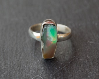 Handmade ring | rough opal | raw opal | opal ring | rainbow opal | October birthstone | rough gemstone | raw gemstone ring | bohemian |