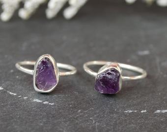 Rough amethyst ring   hand formed ring   sterling silver   raw gemstone ring   amethyst jewelry   February birthstone   gemstone   bohemian