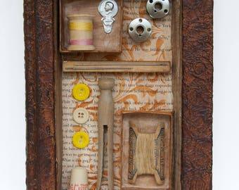 Assemblage Art - Altered Book Art - Vintage Sewing