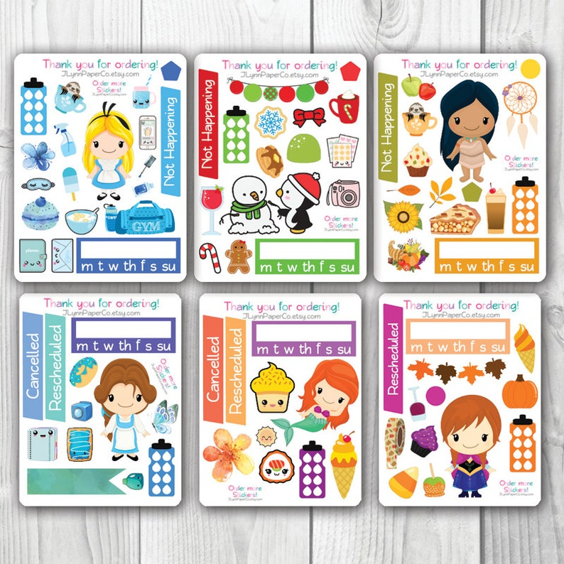 Kawaii Magical Girl 2016 Sampler Collection Colorful Erin Condren Vertical Planner Stickers ECLP Anime