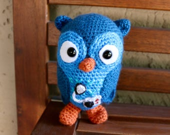 Diabetic owl with insulin pump and movable injection site stuffed animal toy