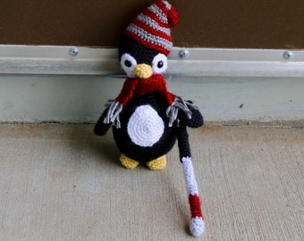 Blind penguin with walking cane stuffed animal toy