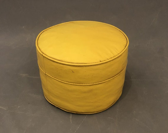 Mid Century Vintage Ottoman Footstool Proof With Original Yellow Leather