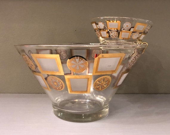 Mid Century Hollywood Regency Style Dip & Chip Glass Server