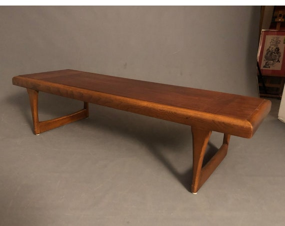 Mid Century Walnut Rectangle Long Coffee Table by Lane Co.