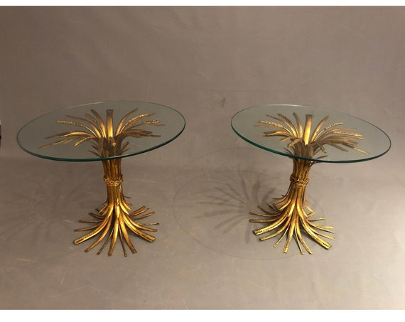 Vintage Hollywood Regency Coco Chanel Style End Table Wheat Grass Shape -Pair