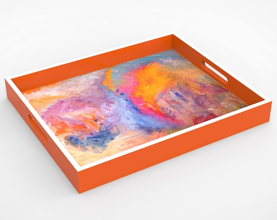 "Lacquer Tray by Bruce Mishell Titled ""The Other side"""