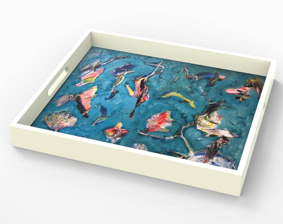 "Lacquer tray By Bruce Mishell titled ""The Birds"""
