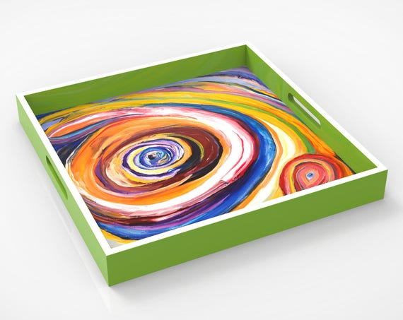 "Lacquer tray featured Artist Bruce Mishell titled ""Eye On You"""