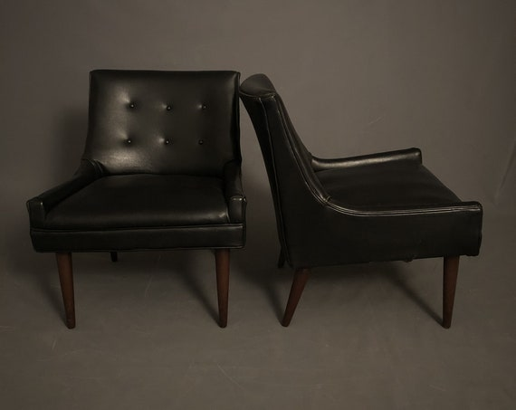 Mid Century Pair of Lounge Chairs With Original Black Leather