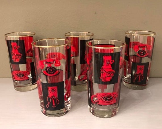 Mid Century Set of 5 Highball Glasses Black and Red Set