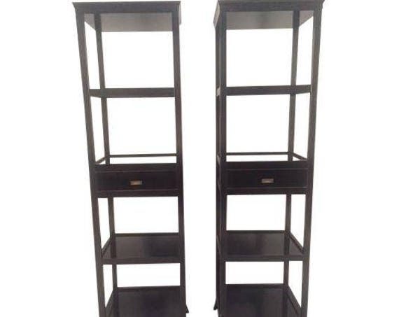 Contemporary pair of five tier wood black Etagere shelves lacquered with glossy finish