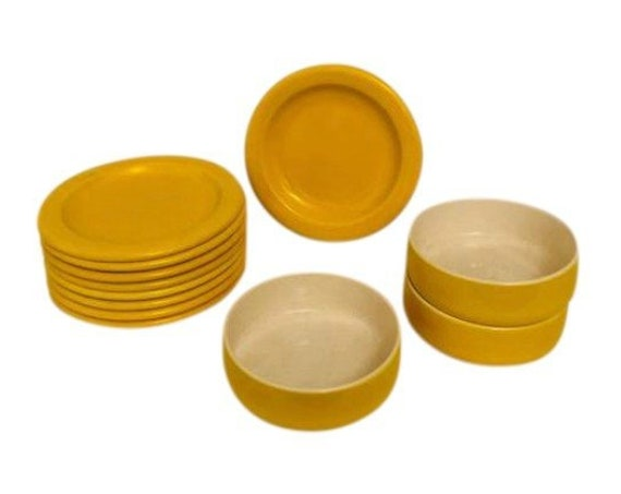 Mid-Century Yellow Mikasa Plates & Bowls - Set of 12