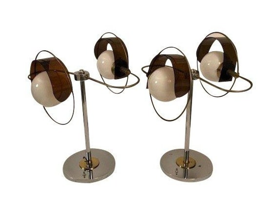Lucite & Chrome Art Deco Table Lamps - A Pair