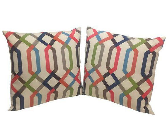 Pair Of Multi Colored geometric shape Handmade Square Pillows