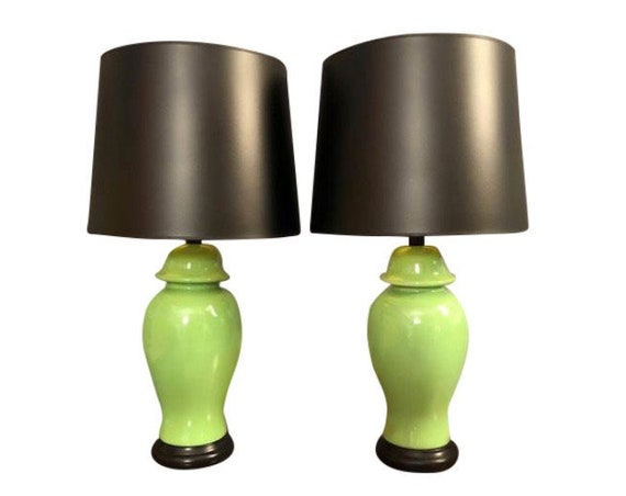 Mid-Century pair porcelain table lamps with new Black shades