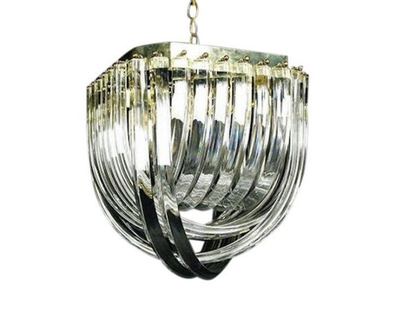 Mid Century Modern Hollywood Regency Brass and Lucite Ribbon Loop Chandelier