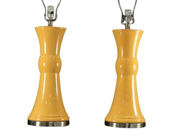 Mid-Century Modern Ceramic Base Lamps - A Pair