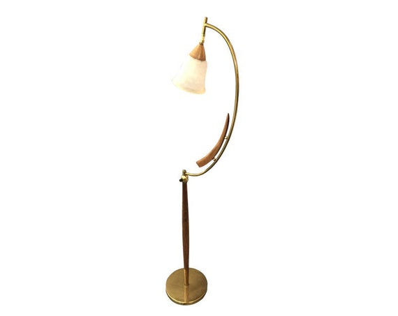 Mid-Century Teak & Brass Floor Lamp