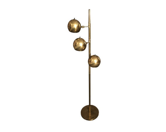 Mid Century Hollywood Regency Brass 3 Shades Floor Lamp