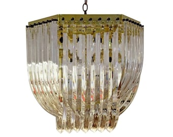 264da35b75a3 Mid-Century Brass and Lucite Ribbon Chandelier