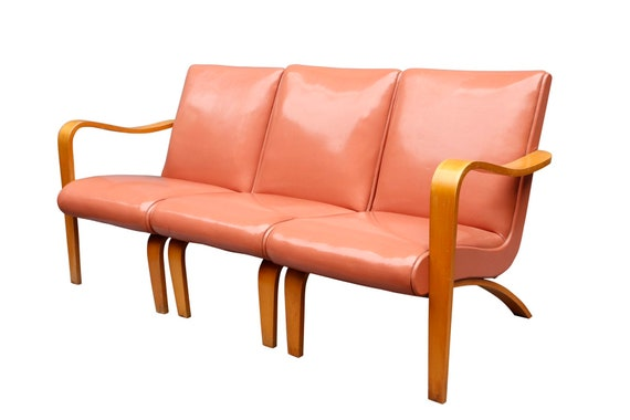 "Mid Century Three Seat Sectional Settee by ""Thonet"""