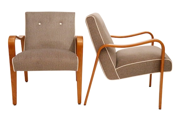 """Curated mid century lounge chairs with Bentwood maple wood by """"thonet"""" Co."""