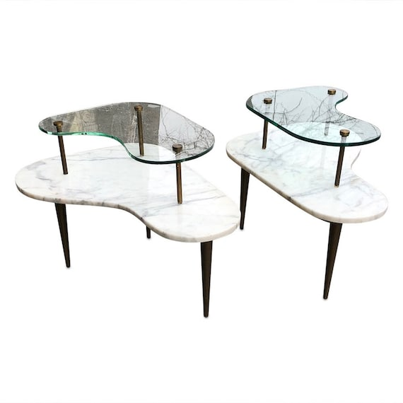 Italian Art deco Vera Marble and beveled glass to tear and table