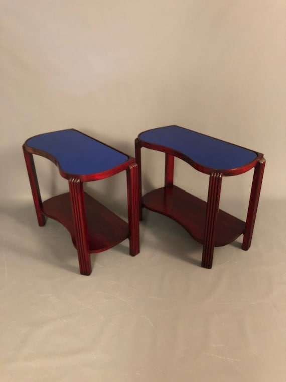 Stunning Art Deco pair or cherry wood end tables