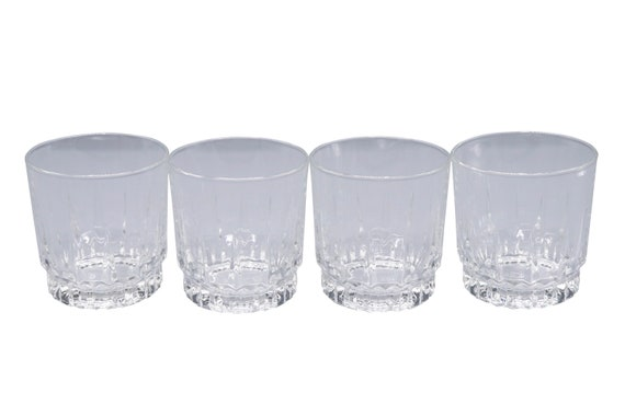 Mid-Century set of 4 lowball heavy crystal clear cocktail glasses.  1970's Circa