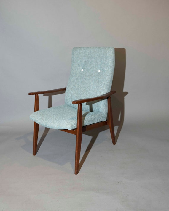 Mid century curated high back lounge arm chair with new upholstery 1950' Circa