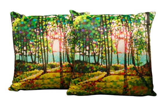 "Stunning modern handmade ""Kevin Conklin"" original art print on 18"" square velvet pillow."