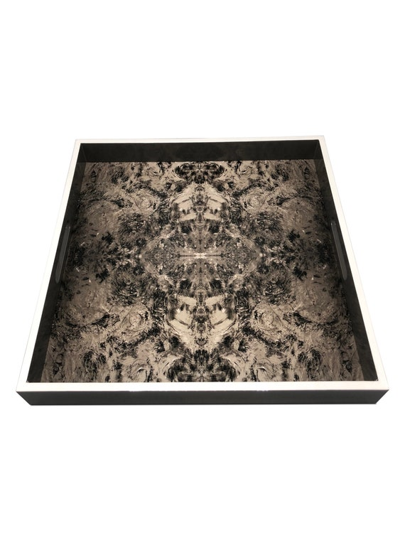 """Handmade contemporary lacquer wood tray titled: """"Dove Gray"""" designed by """"Magic Hill"""