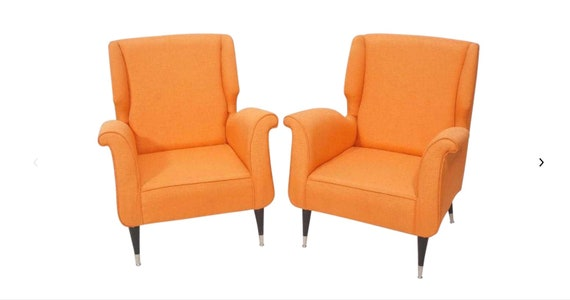 Pair of Contemporary Italian Style Fabric Lounge Chairs