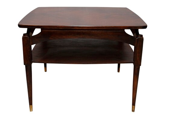 Mid-Century curated walnut coffee table in dark shade