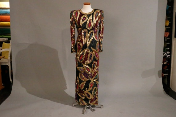 Hollywood Regency glamorous evening dress sequence multicolored 1969's Circa