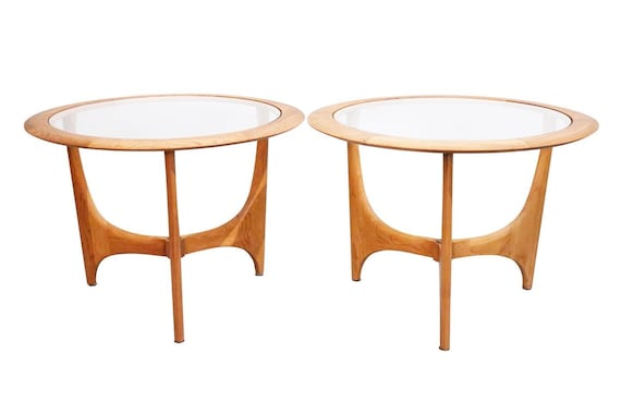 "Mid-Century pair end table by ""lane"" walnut & Glass top 1960s circa"