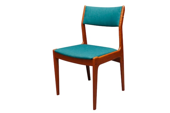 Mid century curated pair dining chairs blue teal maharam fabric ONLY 2 LEFT