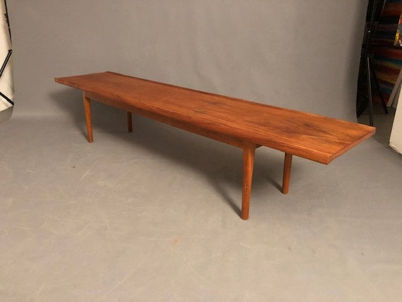 mid-Century vintage long and narrow teak coffee table/bench