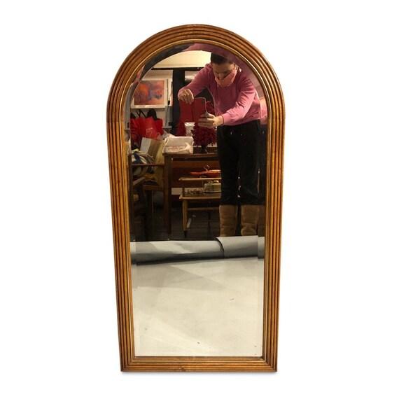 Art Deco beveled wall mirror half moon top shape wood and brass 1950s