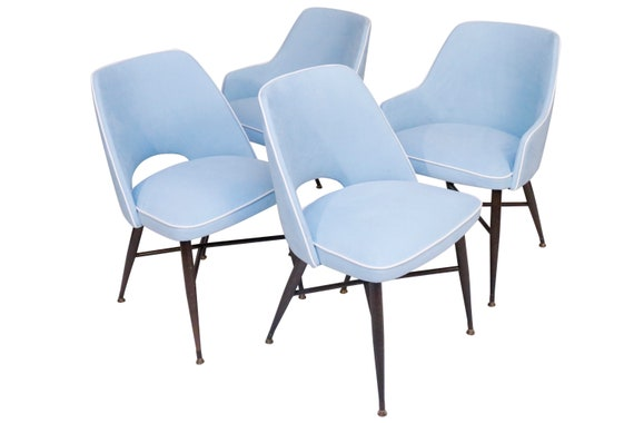 Mid-Century Set of 4 chairs, two with arm.  Designed by Viko Baumritter 1970's Circa