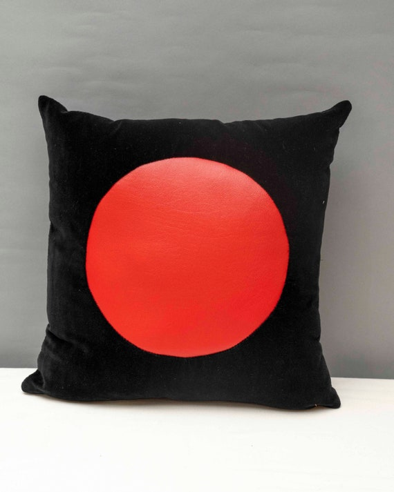 "Black velvet with geometric red vinyl handmade pillow 16 x 16""inches"