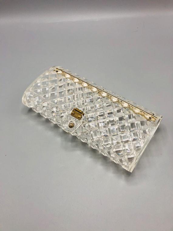 Vintage Clear Transparent Lucite Mid 1950s Original Patricia of Miami Diamond Geometric Cut Clutch