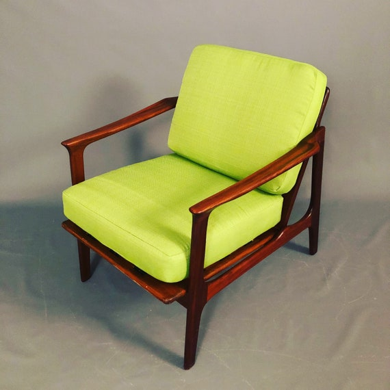 Mid-Century Danish Teak Arm Chairs with New Green Cushions