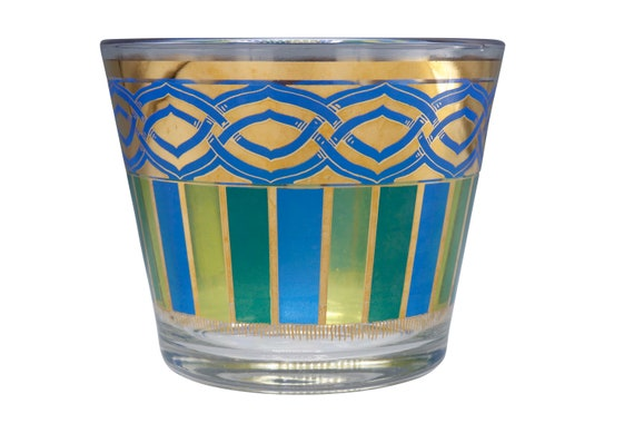 Mid century glass ice bucket painted in green and blue 1970s circa