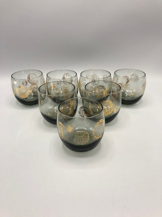 Mid century set of 8 cognac smoky glass with gold detail 1960's circa
