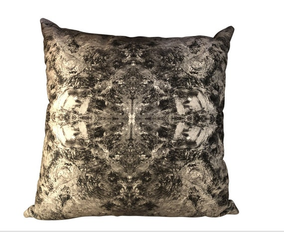 Handmade Modern Abstract Print Velvet Gray Pillow